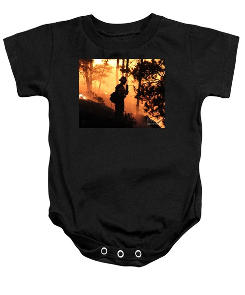 Firefighter At Night On The White Draw Fire Baby Onesie