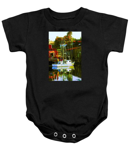Fish'n Boat At Harbor Baby Onesie