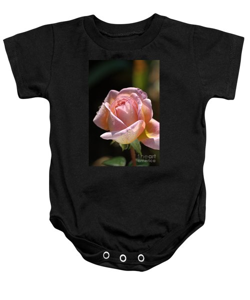 Flower-pink And Yellow Rose-bud Baby Onesie