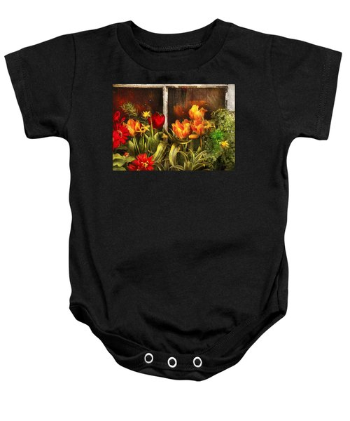 Flower - Tulip - Tulips In A Window Baby Onesie