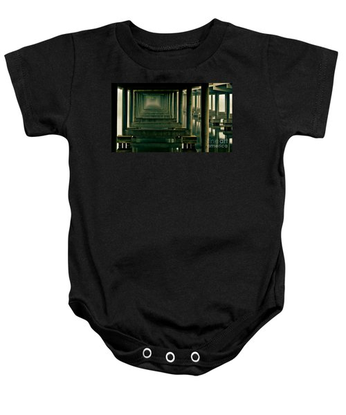 Foggy Morning Under Bridge Baby Onesie by Robert Frederick