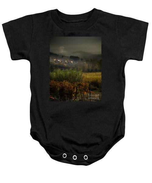 Foggy Tuscan Valley  Baby Onesie