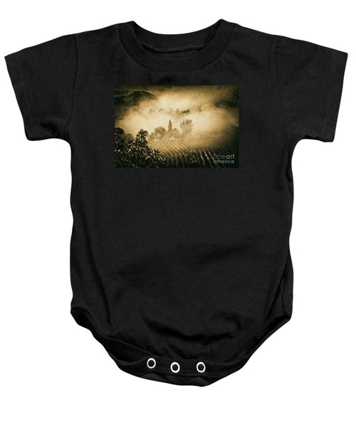 Baby Onesie featuring the photograph Foggy Tuscany by Silvia Ganora