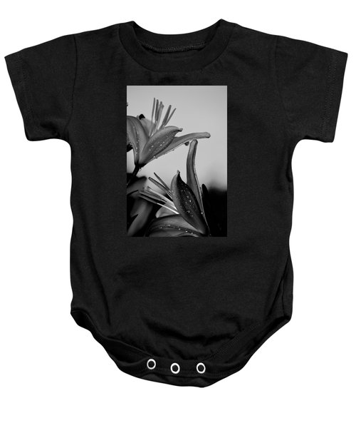 For The Love Of Lillies Bw Baby Onesie