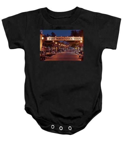 Fort Worth Stock Yards Night Baby Onesie