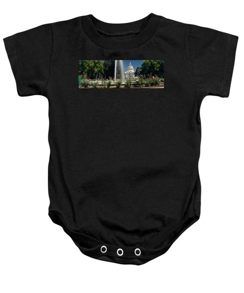 Fountain In A Garden In Front Baby Onesie by Panoramic Images