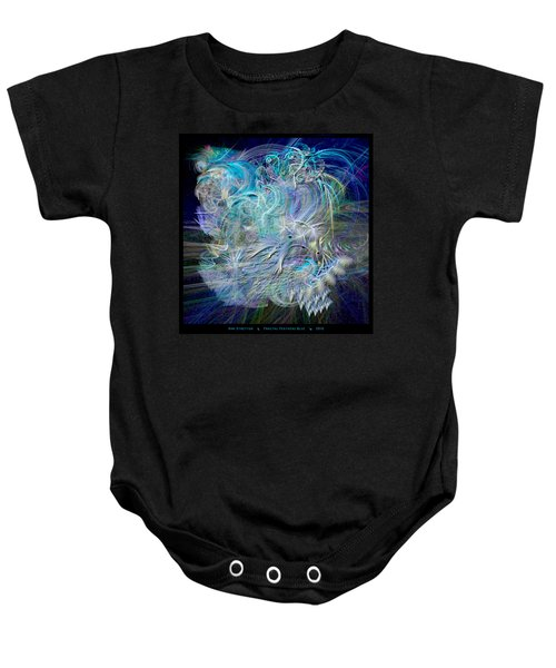 Fractal Feathers Blue Baby Onesie