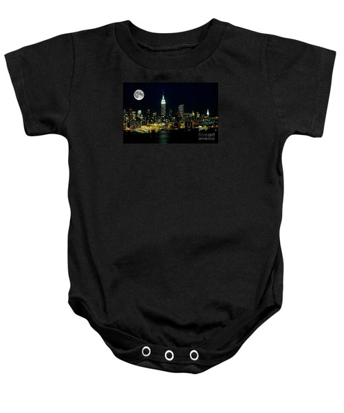 Full Moon Rising - New York City Baby Onesie by Anthony Sacco