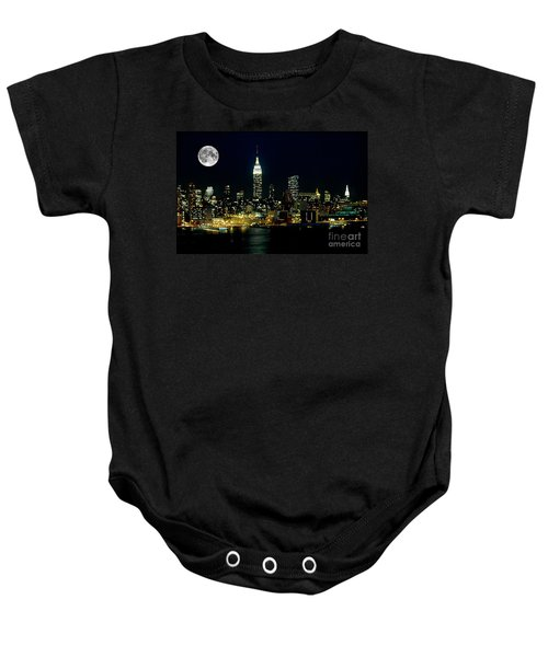 Full Moon Rising - New York City Baby Onesie