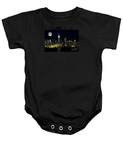 Full Moon Rising - New York City Baby Onesie