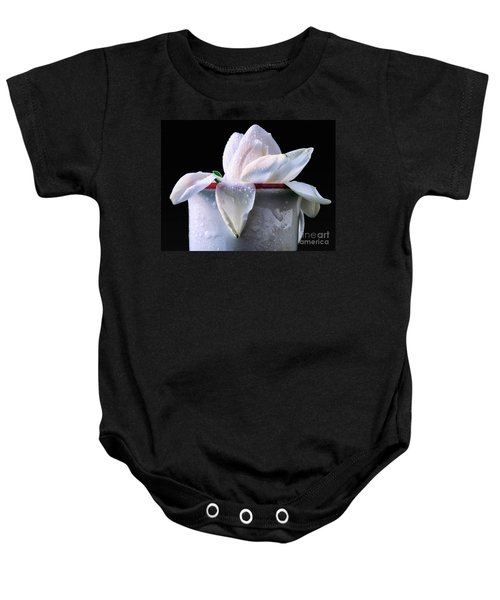 Baby Onesie featuring the photograph Gardenia In Coffee Cup by Silvia Ganora