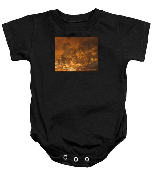 Ghost Horses At Sunset Baby Onesie