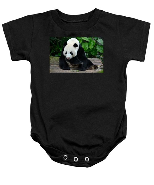 Giant Panda With Tongue Touching Nose At River Safari Zoo Singapore Baby Onesie