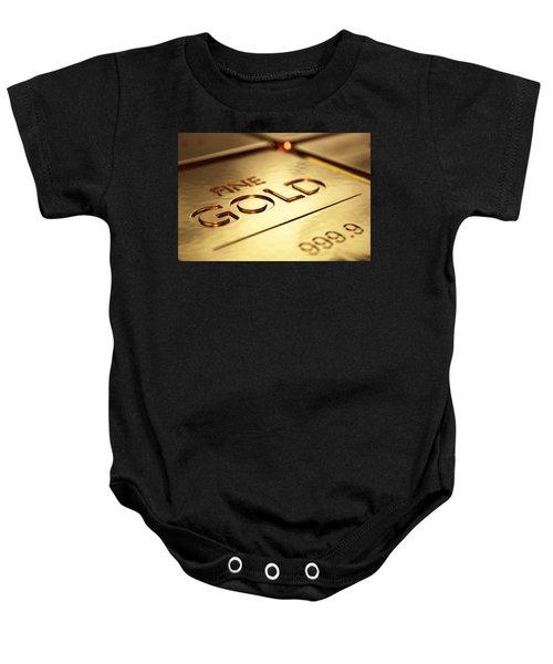 Gold Bars Close-up Baby Onesie