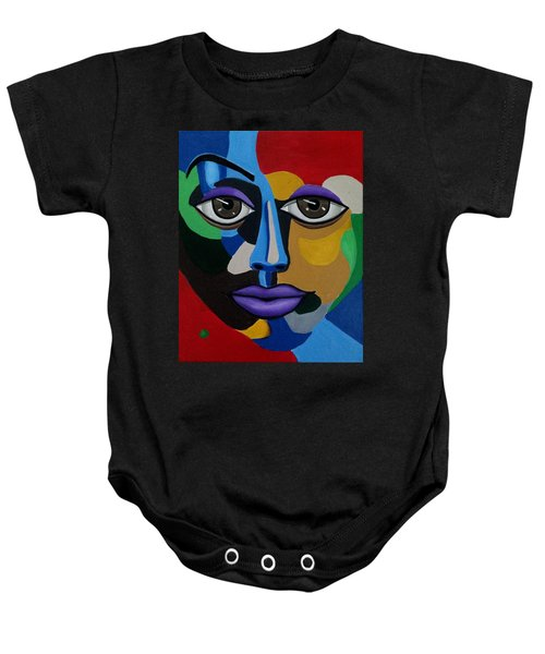 Colorful Illusion Abstract Face Art Painting, Big Brown Eye Art, Optical Artwork Baby Onesie