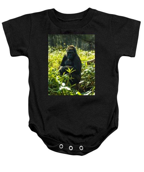 Gorilla Sitting On A Stump Baby Onesie