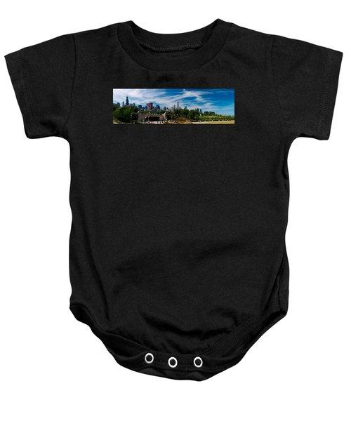 Grant Park Chicago Skyline Panoramic Baby Onesie by Adam Romanowicz