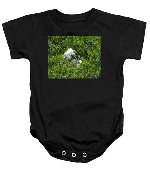 Great Egret With Chicks On The Nest Baby Onesie
