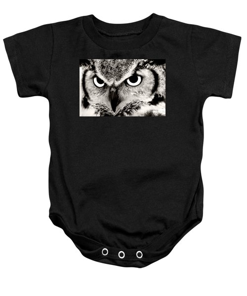 Great Horned Owl In Black And White Baby Onesie