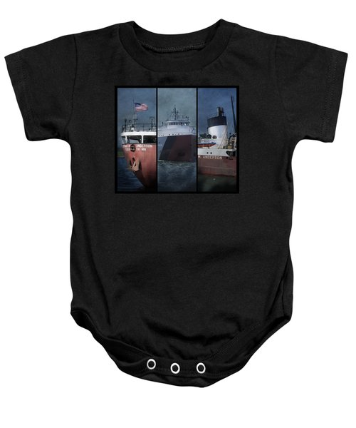 Great Lakes Freighter Triptych Arthur M Anderson Baby Onesie