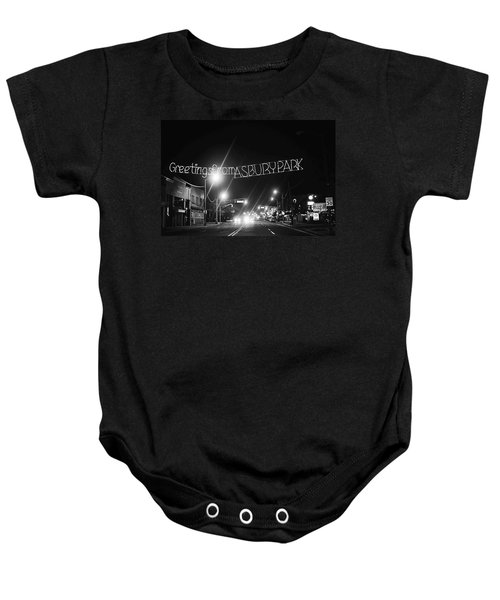 Greetings From Asbury Park New Jersey Black And White Baby Onesie