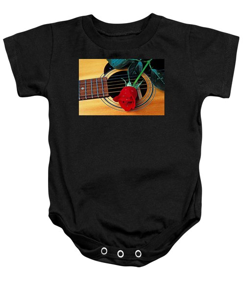 Guitar With Single Red Rose Baby Onesie