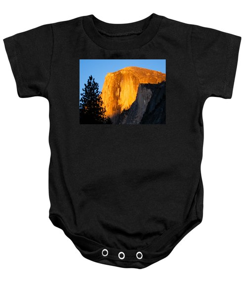 Baby Onesie featuring the photograph Half Dome Yosemite At Sunset by Shane Kelly