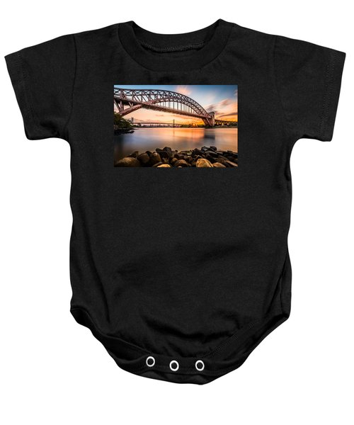 Hell Gate And Triboro Bridge At Sunset Baby Onesie