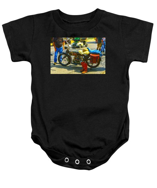 Henderson At Cannonball Motorcycle Baby Onesie