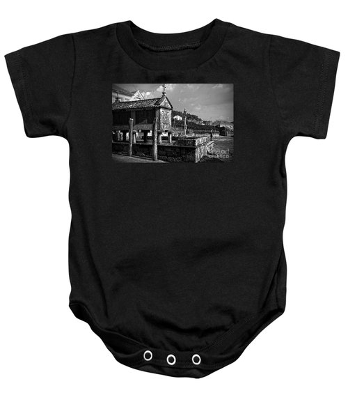 Horreo And Cruceiro In Galicia Bw Baby Onesie