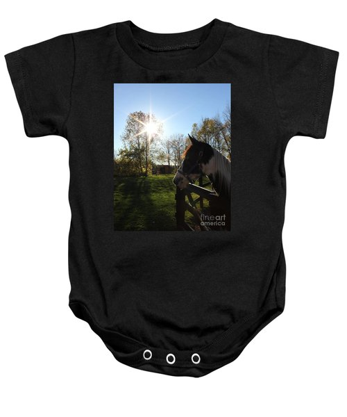 Horse With Sunburst Baby Onesie