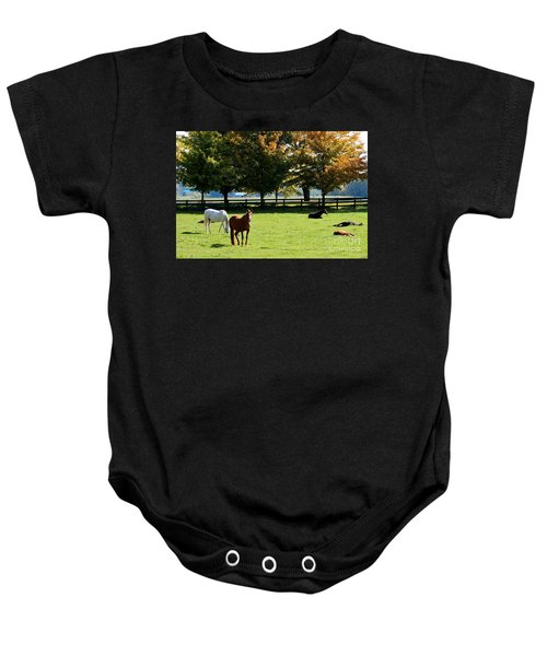 Horses In Fall Baby Onesie