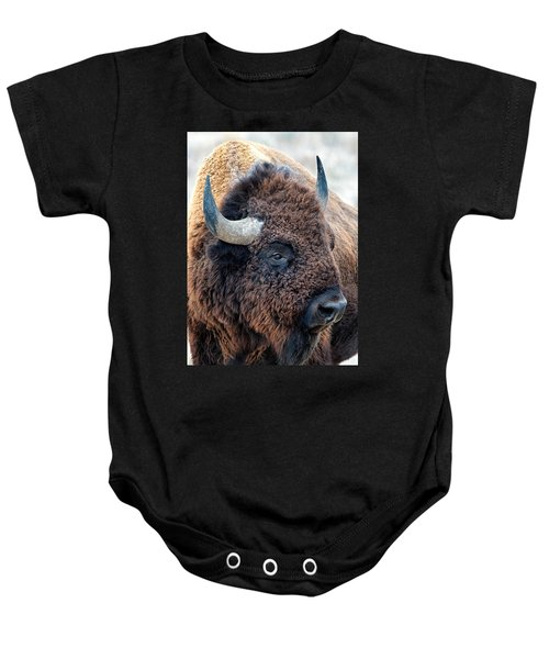 Bison The Mighty Beast Bison Das Machtige Tier North American Wildlife By Olena Art Baby Onesie