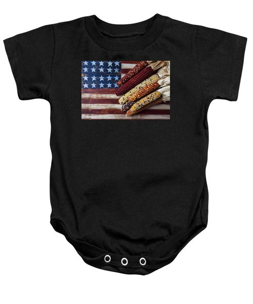 Indian Corn On American Flag Baby Onesie
