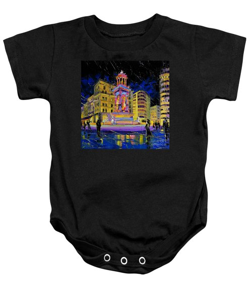 Jacobins Fountain During The Festival Of Lights In Lyon France  Baby Onesie