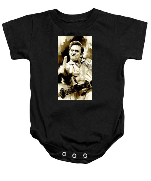 Johnny Cash Artwork 2 Baby Onesie by Sheraz A