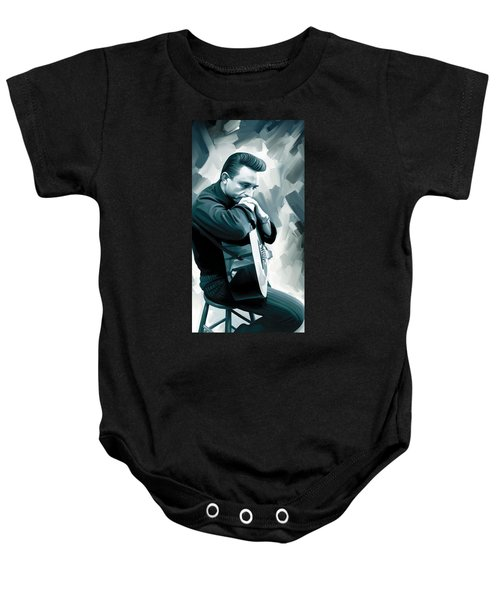 Johnny Cash Artwork 3 Baby Onesie by Sheraz A