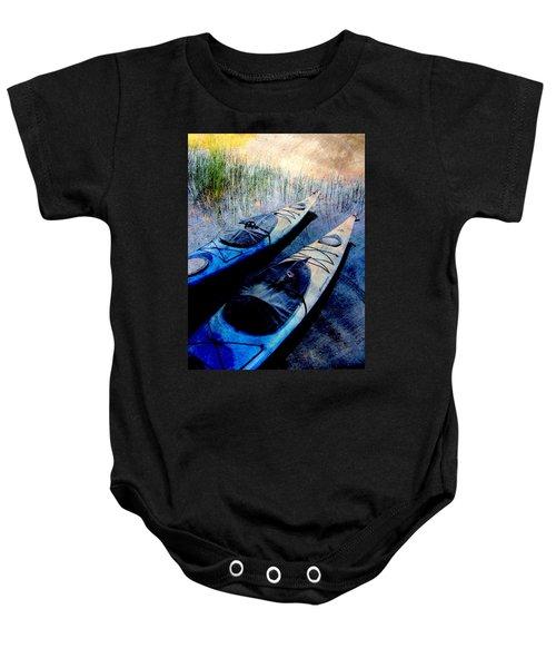 Kayaks Resting W Metal Baby Onesie