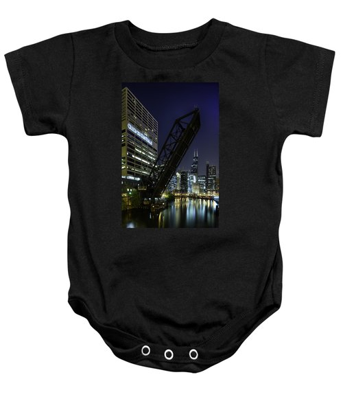 Kinzie Street Railroad Bridge At Night Baby Onesie