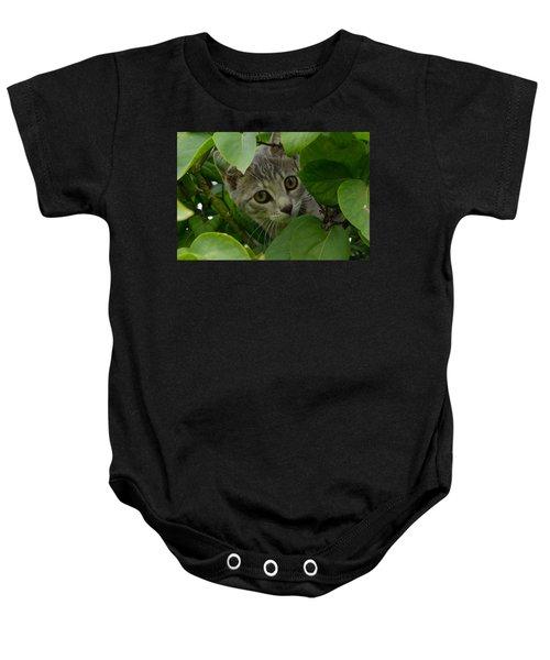 Kitten In The Bushes Baby Onesie