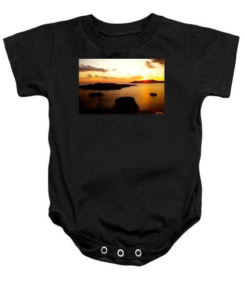 Baby Onesie featuring the photograph Late Sunset Santorini  Island Greece by Colette V Hera  Guggenheim