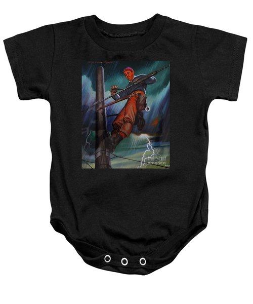 Lineman In Storm Baby Onesie
