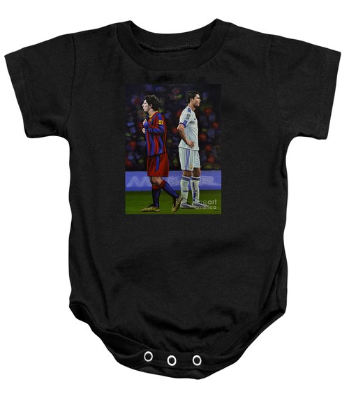 Lionel Messi And Cristiano Ronaldo Baby Onesie by Paul Meijering