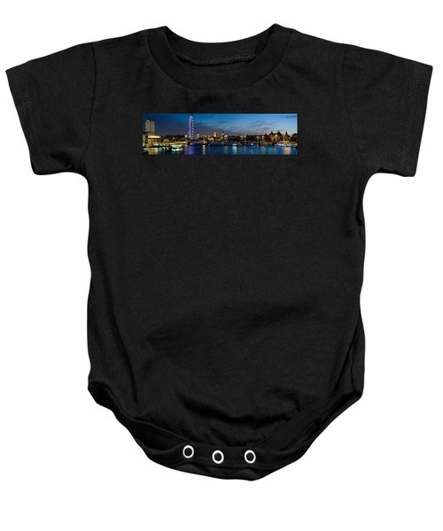 London Eye And Central London Skyline Baby Onesie by Panoramic Images
