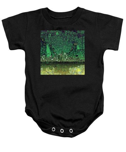 Los Angeles Skyline Abstract 6 Baby Onesie by Bekim Art