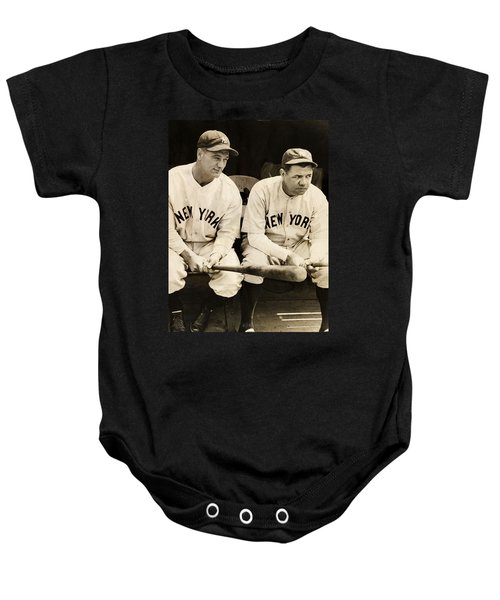 Lou Gehrig And Babe Ruth Baby Onesie by Bill Cannon