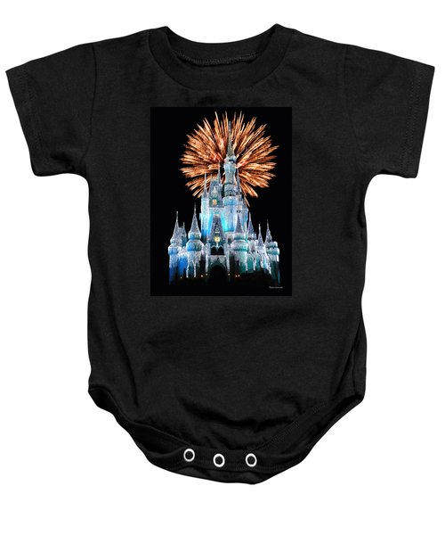 Magic Kingdom Castle In Frosty Light Blue With Fireworks 02 Baby Onesie
