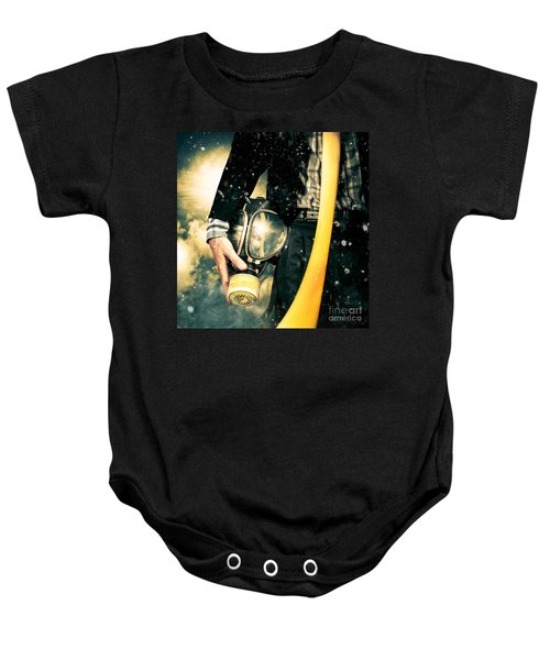 Man With Gas Mask. New Beginning. Skys The Limit Baby Onesie