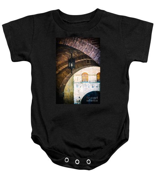 Baby Onesie featuring the photograph Medieval Arches With Lamp by Silvia Ganora