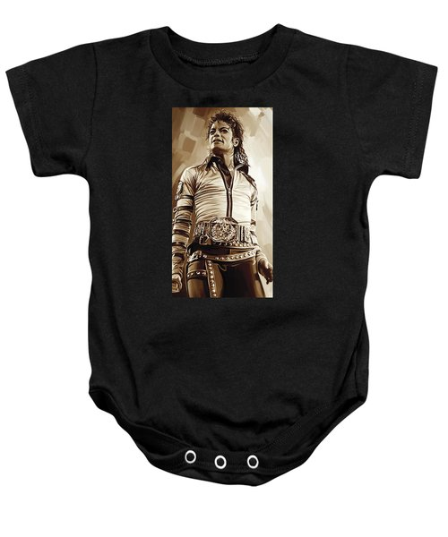 Michael Jackson Artwork 2 Baby Onesie by Sheraz A